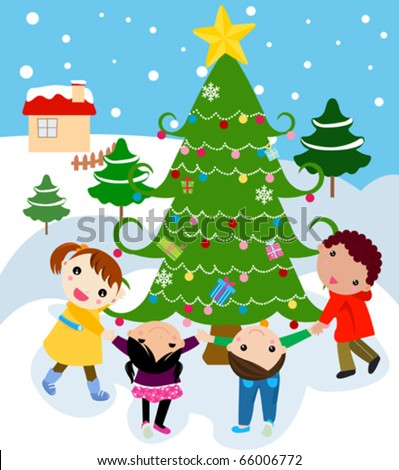 children around a beautiful, festive Christmas tree