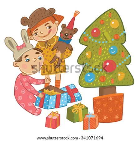 Children around the Christmas tree opening Christmas gifts. Children's book illustration - stock vector