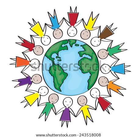 Children around the world in white background - stock vector