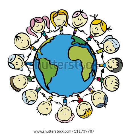 Children around the world save the planet earth holding hands