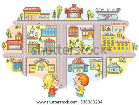 Children asking and telling the way to different city buildings, colorful cartoon - stock vector