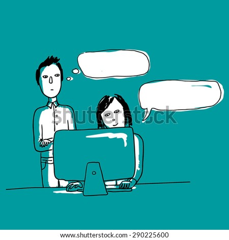 Children at the computer. Discussion. - stock vector