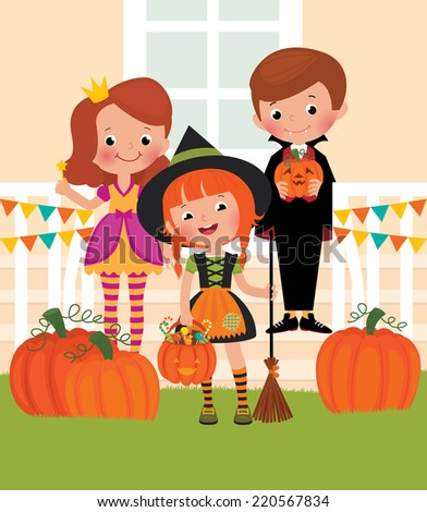 Children at the doorstep dressed as monsters Halloween/Children in celebration of Halloween on the doorstep/Illustration friends in costumes of different characters celebrate Halloween - stock vector