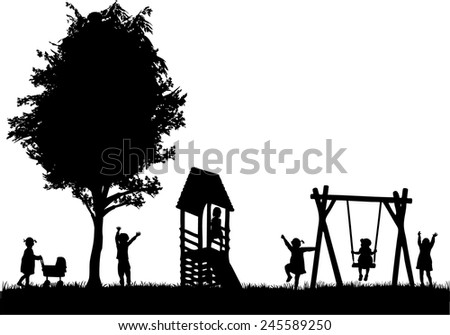 Children at the playground.  - stock vector