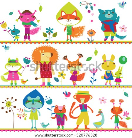 Children background with cute little animals - stock vector