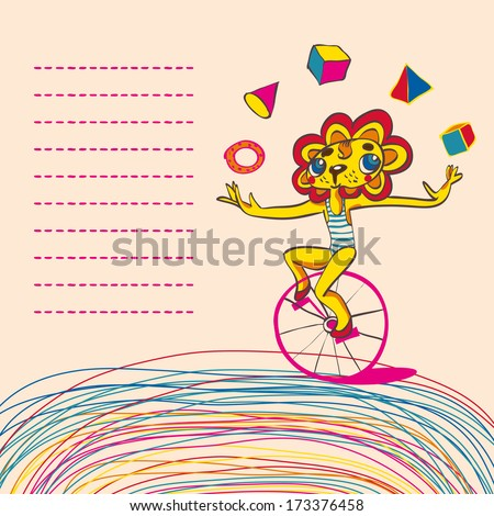 Children background with juggling lion by bicycle. Place for text. Hand drawing. Vector illustration. - stock vector
