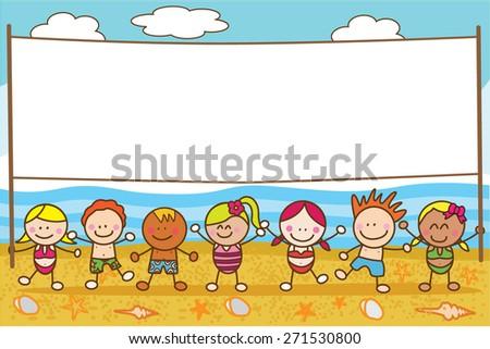 Children banner beach - stock vector