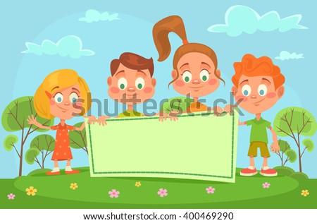 Children banner. Vector flat cartoon illustration - stock vector