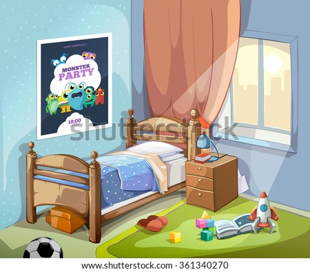 Children Bedroom Interior In Cartoon Style With Football Ball And Toys Vector Illustration