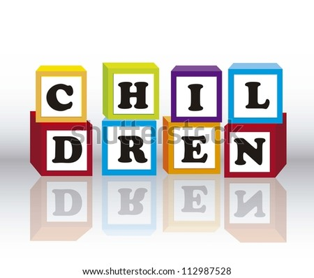 children blocks with shadow over gray background. vector illustration - stock vector