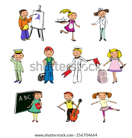 Children boys and girls professions colored sketch characters set isolated vector illustration - stock vector