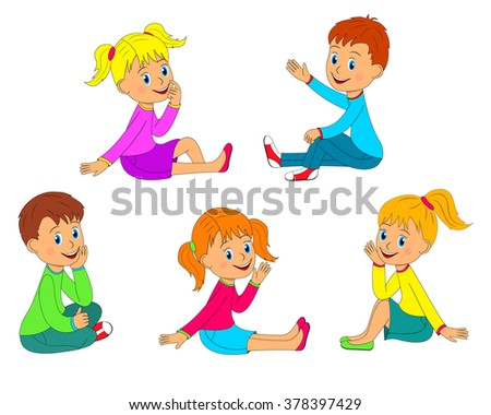 Children Boys Girls Sit On Floor Stock Vector Royalty