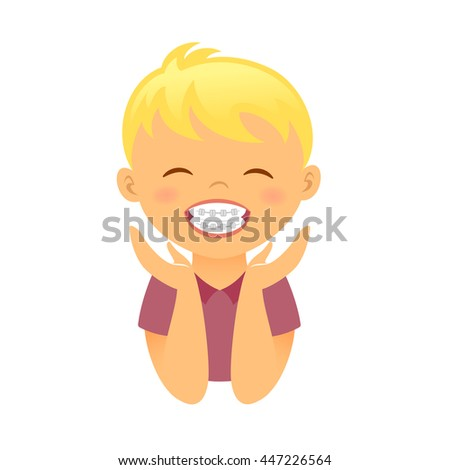 Children braces. Happy boy with beautiful smile teeth - stock vector