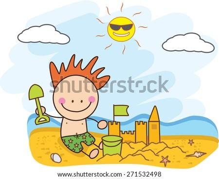 children build sand castle at beach - stock vector