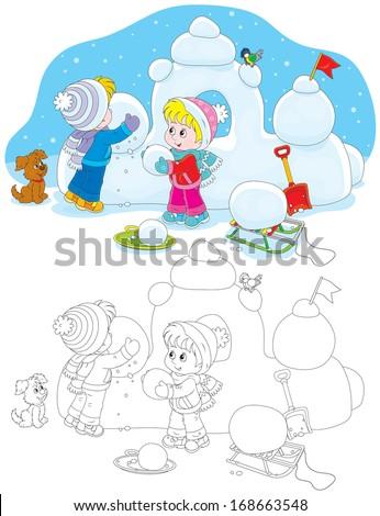 Children building a snow fort - stock vector