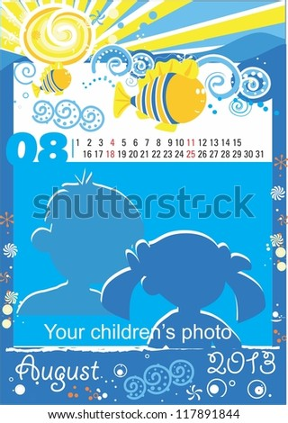Children calendar for the month of August