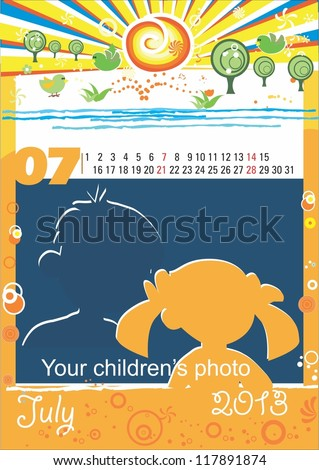 Children calendar for the month of July