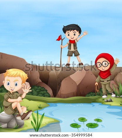 Children camping out by the river illustration