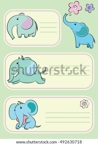 children cards with cute elephants