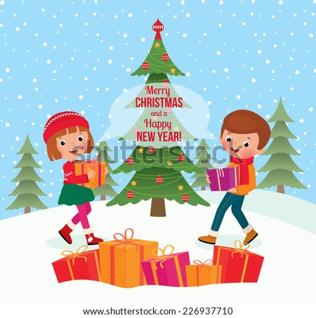Children celebrate Christmas and give each other gifts/Children give Christmas gifts/Children give each other Christmas gifts - stock vector