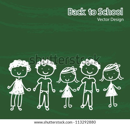 children chalked on a board  representing the back to school - stock vector
