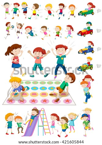 Children characters playing games illustration - stock vector