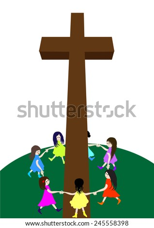 Children circle around a cross.A group of children circle around a cross - stock vector