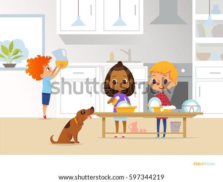 Children Cleaning Kitchen Two Multiracial Kids Vector de ...