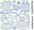 Children clothes doodles on school squared paper - stock vector