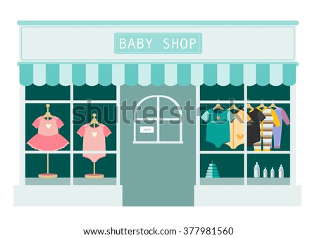 children clothes shop ,shops and stores icons,Vector illustration - stock vector