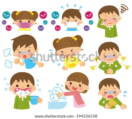 Children cold - stock vector