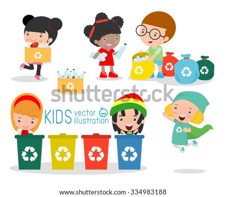 Children collect rubbish for recycling, Illustration of Kids Segregating Trash, recycling trash, Save the World , Boy and girl recycling, Kids Segregating Trash, children and recycling. - stock vector