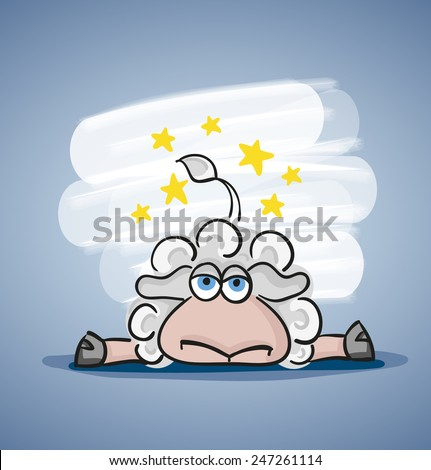 Children colored cartoon illustration. Curly lamb with blue eyes fell lies on the surface, yellow stars over her head. Located on pale blue background with white spot - stock vector