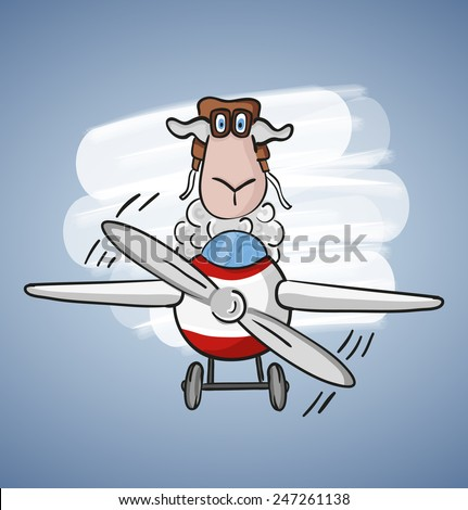 Children colored cartoon illustration. Curly lamb with blue eyes flying on a red-white plane with propeller in aviator cap and glasses, situated on pale blue background with white spot - stock vector