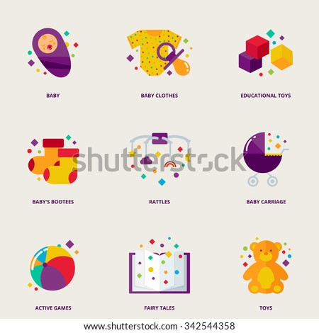 Children colorful vector icons set: baby, clothes, educational toys, booties, rattles, baby carriage, active games, fairy tales, toys - stock vector