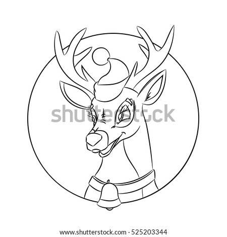 Children Coloring Pages With Christmas Deer Made In A Classic Cartoon Style Isolated On