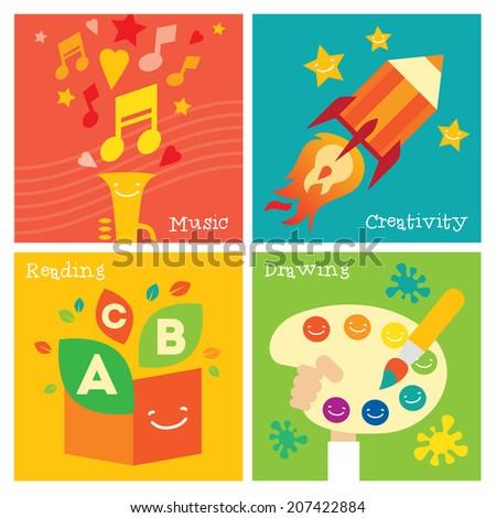 Children creativity development icon set. Modern flat vector illustration set. Design element - stock vector