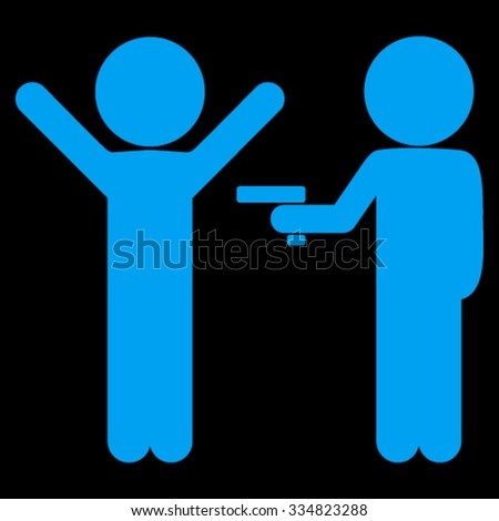 Children Crime vector icon. Style is flat symbol, blue color, rounded angles, black background. - stock vector