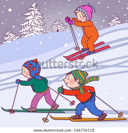 Children cross country skiing. Winter activities. Isolated objects on Snow Winter background. Great illustration for school books, magazines, advertising and more. VECTOR. - stock vector