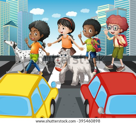 Children crossing the road at zebra crossing illustration