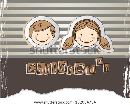 children design over lineal background vector illustration - stock vector