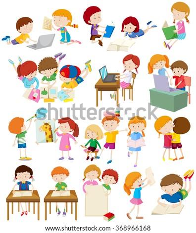 Children doing activities at school illustration - stock vector