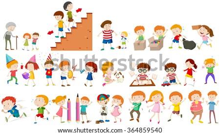 Children doing different activities illustration - stock vector