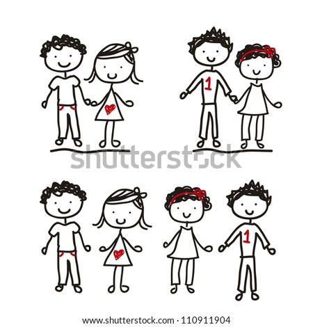 children drawing isolated over white background. vector - stock vector