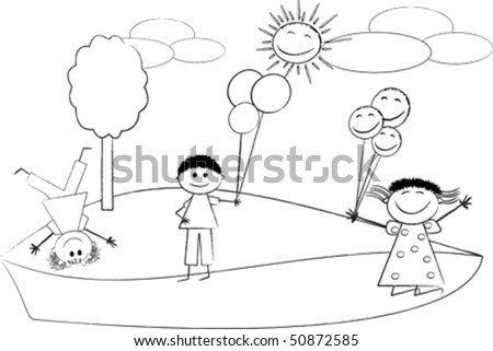 children drawing, isolated over white background, vector illustrator