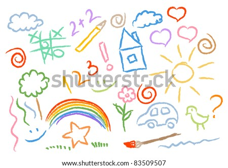 children drawing multicolored symbols set