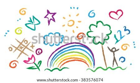 children drawing multicolored symbols vector set - stock vector