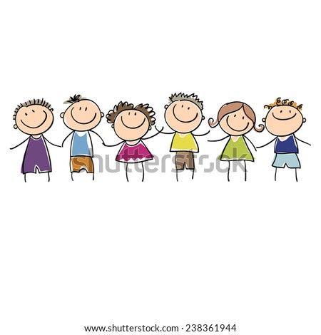 children drawn colored markers - stock vector