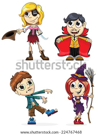 Children dressed as a vampire, zombie, witch and pirate. Halloween characters on a white background - stock vector