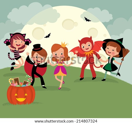 Children dressed as monsters for Halloween night party/Children on Halloween night party/Children having fun on Halloween night party - stock vector
